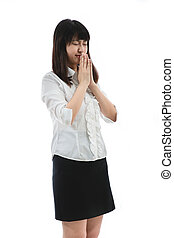 begging for chance - Asian business woman - begging for...
