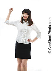 young woman Clenching Fist - Asian business woman - young...