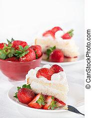 Slice of homemade strawberry cream cake - Slice of homemade...