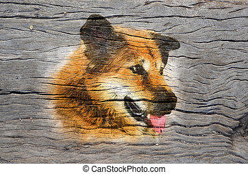 digital painting image on the wood