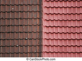 Roof Tiles - Old And New - Old and new roof tiles side by...