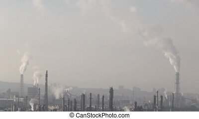 Industrial plant chimney emission noxious smog and air...