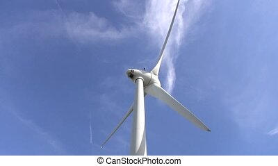 high shot angle Wind power with blue sky backgroundenergy...