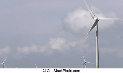 wind turbines generating clean  energy  with cloud
