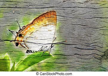 digital painting image on wood