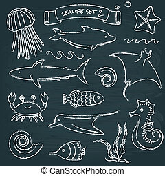Sealife chalkboard set 2 - Chalkboard collection of hand...