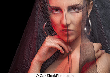 Gothic style woman on black background Professional art...