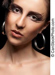 Beautiful woman with fashion goth make up - Beautiful woman...