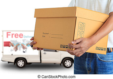 Delivery man with free delivery car