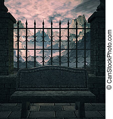 The Bench - A bench outside gated mountains on a cobblestone...