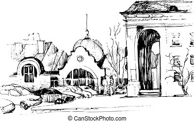 sketch of the city landscape
