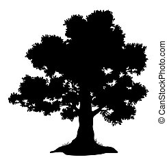 Oak tree and grass, silhouette - Oak tree with leaves and...
