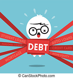 Debt concept cartoon illustration with a man wrapped up in red tape