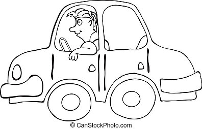 Happy smiling man in cartoon car, vector illustration