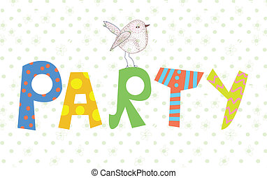 Funny party banner with texture and bird cute design