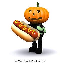 3d Pumpkin head eats a nice hotdog - 3d render of a pumpkin...