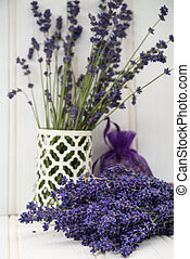 Beautiful fragrant lavender bunch in rustic home styled...
