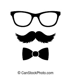 Hipster Style Set Bowtie, Glasses and Mustaches. Vector...