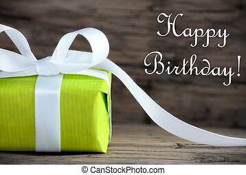 Green Gift with Happy Birthday - A Green Present with the...