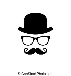 Hat, Glasses and Mustache Set. Vector