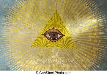 All Seeing Eye . - All-seeing eye on the ceiling of an...
