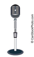 Microphone - Beautiful Retro Black Microphone Over White