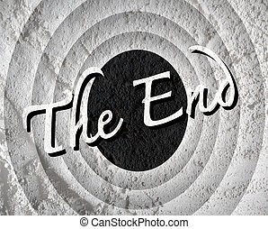 the end Movie ending screen on Cement wall texture...