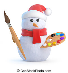 3d Snowman is an artist - 3d render of a snowman with...