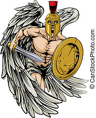 Strong angel - An illustration of a warrior angel character...