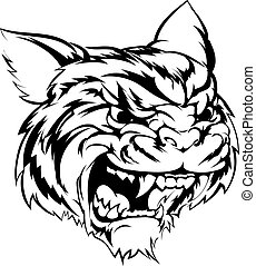 Tiger mascot character - A black and white illustration of a...