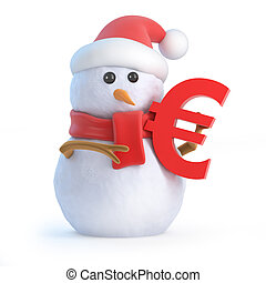 3d Snowman holds a Euro currency symbol - 3d render of a...