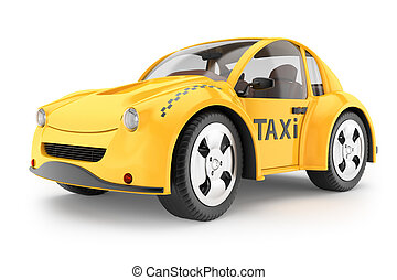 Taxi cab isolated on white background. 3d rendering image