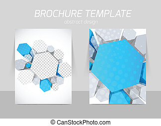 Hexagons flyer template - Science hexagons flyer template in...