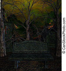 The Bench - A bench outside in a spooky surroundings