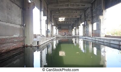 water supply plant old destroyed - waterworks ruins with...