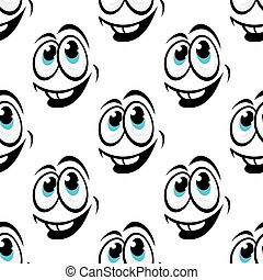 Seamless background pattern of cartoon happy faces -...