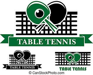 Table Tennis emblems and symbols - Three Table Tennis...