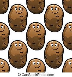Seamless pattern of cartoon potatoes - Seamless pattern of...