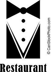 Restaurant badge or sign - Black and white restaurant badge...