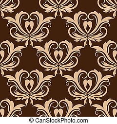 Damask brown seamless floral pattern - Damask style beige...