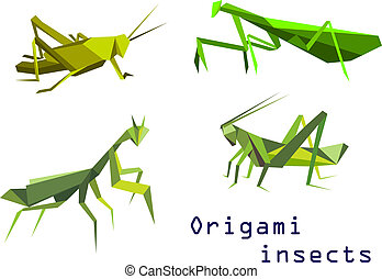 Green origami grasshoppers and mantis - Set of green origami...