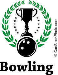 Sport bowling league label with laurel wreath - Green laurel...