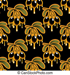 Seamless background pattern of olive oil dripping from olives