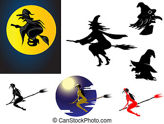 Set of Halloween witches in silhouette flying on her...