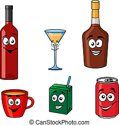 Cartoon set of assorted beverages or drinks - Cartoon with...