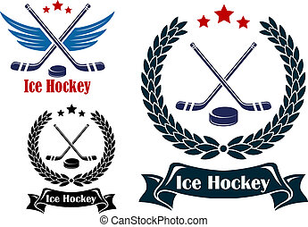 Ice Hockey sports emblems or badges with crossed sticks an