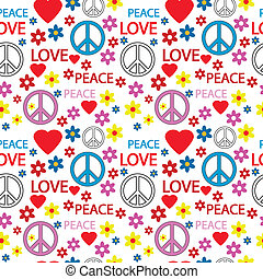 Seamless pattern with symbols of the hippie Vector...