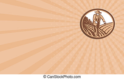 Business card Organic Farmer Sowing Seed Woodcut Retro