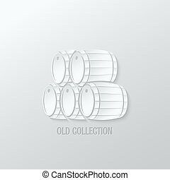 wine barrel paper cut design background 10 eps