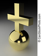 Ball And Cross - Realistic rendering of golden cross on...